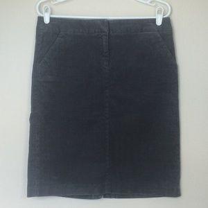 J. CREW Stretch Vintage Corduroy Skirt Gray 6 EUC